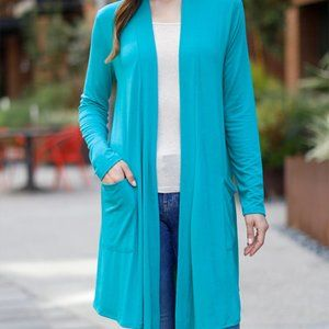 New Teal Blue Duster Cardigan Lightweight